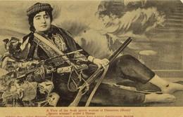 Ottoman Turkey, Syria, DAMAS DAMASCUS, Arab Sports Woman With Rifle (1910s) - Syria