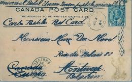 1904 , CANADA , ENTERO POSTAL CIRCULADO, WESTLEY - AMBERES , TRÁNSITO AL DORSO DE NUEVA YORK , LLEGADA - Cartes Illustrées Officielles