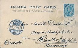 1905 , CANADA , ENTERO POSTAL CIRCULADO, WINLAW - MÜNSTER , LLEGADA - Enteros Postales Del Correo