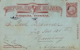 1910 , BOLIVIA , ENTERO POSTAL CIRCULADO VIA PANAMÁ , LA PAZ - HAMBURGO - Bolivia