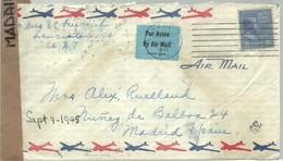 LETTER  1943  CENSURA ESPAÑA - Etats-Unis