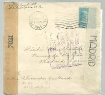 LETTER  1944  CENSURA ESPAÑA - Etats-Unis