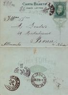 1892 , BRASIL , ENTERO POSTAL CIRCULADO DE 200 REIS , SANTOS - BONN - Enteros Postales