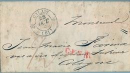 1833 , FRANCIA PREFILATELIA , CARTA CIRCULADA ENTRE CALAIS Y COLOGNE EN ALEMANIA, FECHADOR Y PORTEOS - 1801-1848: Precursores XIX