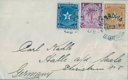 1899 , LIBERIA , MONROVIA - HALLE , RARO SOBRE ENTERO POSTAL CIRCULADO , FR. COMPLEMENTARIO , LLEGADA - Liberia