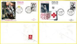 1187-1188 (Yvert) Sur 2 FDC (PJ) - Au Profit De La Croix-Rouge Saint Vincent De Paul Jean-Henri Dunant - France 1958 - FDC
