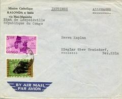 1960 , CONGO BELGA , LEOPOLDVILLE - SIEGLAR , MISIÓN CATÓLICA DE KALONDA , CORREO AÉREO - Congo Belga