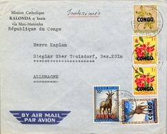 1959 , CONGO BELGA , MASI MANIMBA - SIEGLAR , MISIÓN CATÓLICA DE KALONDA , CORREO AÉREO - Congo Belga