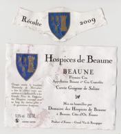 """Etiquette Et Millésime HOSPICES DE BEAUNE """" BEAUNE 1er Cru 2009 - Cuvée Guigogne De Salins """" (2851)_ev403 - Bourgogne"""