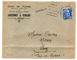 1952-Lettre De HESDIN-62 Pour VIMY-62-Daguin(Nid De Verdure,Forêts,Promenade)type Gandon-SAUDEMONT & DEMAGNY épicerie - Marcophilie (Lettres)