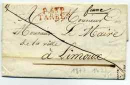 P 63 P  TARBES + Franc Manuscrit / Mairie De La Ville De Tarbes / Dept Des Hautes Pyrénnées / 1823 - Marcofilia (sobres)