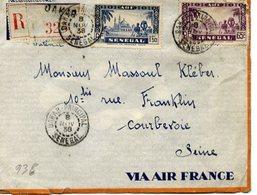 AVIATION - Enveloppe Recommandée VIA AIR FRANCE De DAKAR-PRINCIPAL Sénégal Pour COURBEVOIE - 1938 - 2 Scans - Aviation