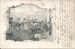La TARANTELLA - F. PICCOLO (retro Indiviso) - VIAGGIATA 1900 - (rif. B93) - Napoli