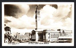 AS925) City Hall, Albert Square - Brisbane - Real Photo Postcard - Brisbane