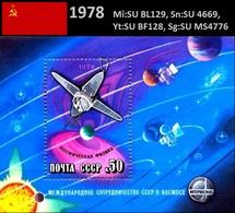 UdSSR 1978 Internationale Zusammenarbeit Im Weltraum Mi: SU BL129, Sn: SU 4669, Yt: SU BF128, Sg: SU MS4776 - Ungebraucht