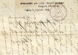 1824- DEVANT De Lettre De 61 / CALAIS Pour Paris -au Dos, Acheminée Par Votre Dévoué Serviteur Jacques Leveux,Calais ... - Marcophilie (Lettres)