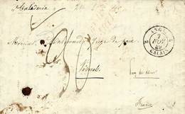 """1849- Lettre De N Y  Pour Le Puy De Dôme , Par Le """" Calédonie"""" Taxe 30 D Entrée  ANGL. 2 CALAIS 2  Noir - Storia Postale"""
