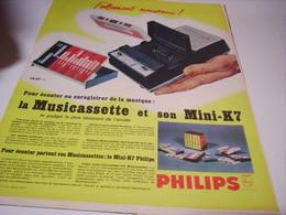 ANCIENNE PUBLICITE NOUVEAU MUSICASSETTE PHILIPS 1966 - Musique & Instruments