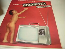 ANCIENNE PUBLICITE AVENIR TELEVISION DUCRETET THOMSON  1966 - Advertising