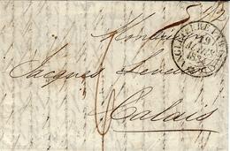 """1834- Lettre De LONDRES Pour Calais  à Jacques Leveux ( Qui Est Un Achemineur ) Entrée """" ANGLETERRE PAR CALAIS """" Noir - Marcophilie (Lettres)"""