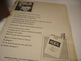 ANCIENNE PUBLICITE CIGARETTE KOOL 1967 - Tabac (objets Liés)