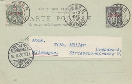 Maroc 1902: Post Card Tanger To Dresden - Marokko (1956-...)