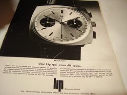 ANCIENNE PUBLICITE ELLE VOUS DIT TOUT  MONTRE LIP 1968 - Jewels & Clocks