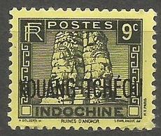 Kouang-Tcheou - 1937 Angkor Wat 9c Black Overprint MH *     Sc 116d - Unused Stamps