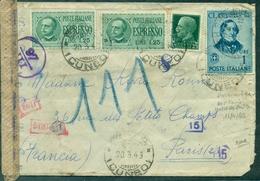 ITALIE Guerre 39/45 Let Express Pneu 20.3.1943 Arr PARIS Hotel Des Postes Le 15.04.43 + Censure - WW2