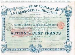 Ancienne Action - Société Générale Belge-Roumaine De Transports & D' Industrie - Titre De 1898 - Transports