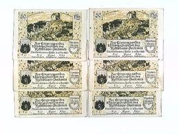 Notgeld, Frankenhausen A. Kyffh., 6x 50 Pfennige, Kyffhäuser-Denkmal, Konvolut, 1921 - Billets