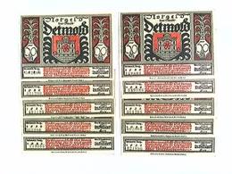 Notgeld Stadt Detmold, 10x 50 Pfennige, Verschiedene Motive, Konvolut, 1922 - Billets