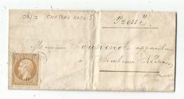 N° 21 OR TROIS FOIS SEUL LETTRE VILLAGE D'OZON CANTON DELME  MOSELLE POUR CHATEAU RACHIN 1863 COTE 375€ - Postmark Collection (Covers)