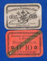 Algérie 2 Billets Oran 10centimes - Algérie