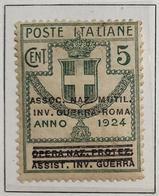 Enti Parastatali 5 Cent Ass Naz Mutil Inv Guerra-roma Linguellato   COD FRA.808 - 1900-44 Vittorio Emanuele III