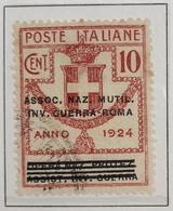 Enti Parastatali 1924 10 Cent Ass Naz Mutil Inv Guerra-roma Timbrato   COD FRA.816 - Pubblicitari