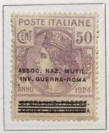 Enti Parastatali 1924 50 Cent Ass Naz Mutil Inv Guerra-roma Linguellato   COD FRA.1158 - 1900-44 Vittorio Emanuele III