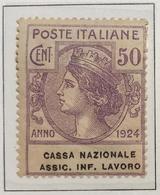Enti Parastatali 1924 50 Cent Cassa Nazionale Assic. Inf. Lavoro Nuovo ** + 1 Lira Fed. Biblioteche Pop    COD FRA.1159 - 1900-44 Vittorio Emanuele III