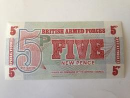 Billete Inglaterra. Fuerzas Armadas Británicas. 5 Peniques. 1972. 6ª Serie. Sin Circular - Emisiones Militares