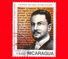 NICARAGUA  - Nuovo - 1986 - Scrittori Latino Americani - Writers - Biblioteca - Ruben Dario (1867-1916) - 5 - Nicaragua