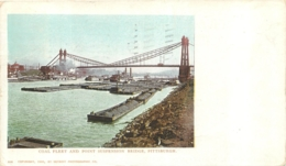 PITTSBURGH COAL FLEET AND POINT SUSPENSION BRIDGE   PRIVATE MAILING CARD 1902 - Pittsburgh