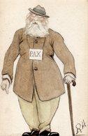 Signé RA - PAX -Vieil  Aveugle Tenant Une Canne - Carte Peinte - Illustrators & Photographers