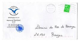 LOT - Dépt N° 46 = CCC46 2006 =  FLAMME NEOPOST Muette '5 Lignes Ondulées' + MAIRIE De CRAYSSAC = PLAGE Aux PTEROSAURES - Postmark Collection (Covers)