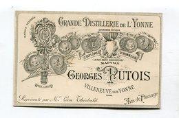 Carte Pub  : Distillerie PUTOIS à Villeneuve Sur Yonne  Usine à Vapeur - Publicités