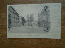 """Carte Assez Rare De 1908 , Reims , La Rue Libergier  Et La Cathédrale """""""" La Cathédrale Avec Un échafaudage Assez Rare """""""" - Reims"""