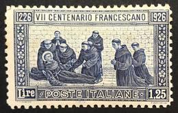 1926 7° Centenario Della Morte Di San Franesco Sassone N°199 Nuovo ** Lievi Ingiallimenti  COD FRA.1166 - Nuovi