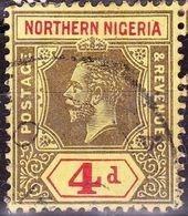 NORTHERN NIGERIA 1912 KGV 4d Black & Red/Yellow SG44 FU - Nigeria (...-1960)