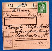 Colis Postal  -  Départ Mutzig  - 09/12/43 - Allemagne