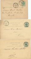 143/28 - 3 X Entier Postal Lion Couché ENGHIEN 1879/88/89 - Divers Expéditeurs - Stamped Stationery