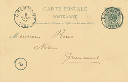 144/28 - Entier Postal Lion Couché ENGHIEN 1893 Vers GRAMMONT - Signé Wielant à HERINNES - Stamped Stationery